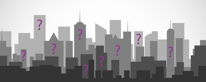 Cityscape in greys with purple question marks representing RealCorp Luxembourg's new Property Requirements Tool