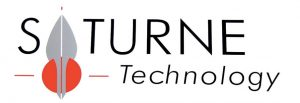 This logo shows the words SATURNE Technology in black on a white surface with the A of the first word replaces with a symbol of a red filled circle topped by a grey shape like a flame or a spear tip.