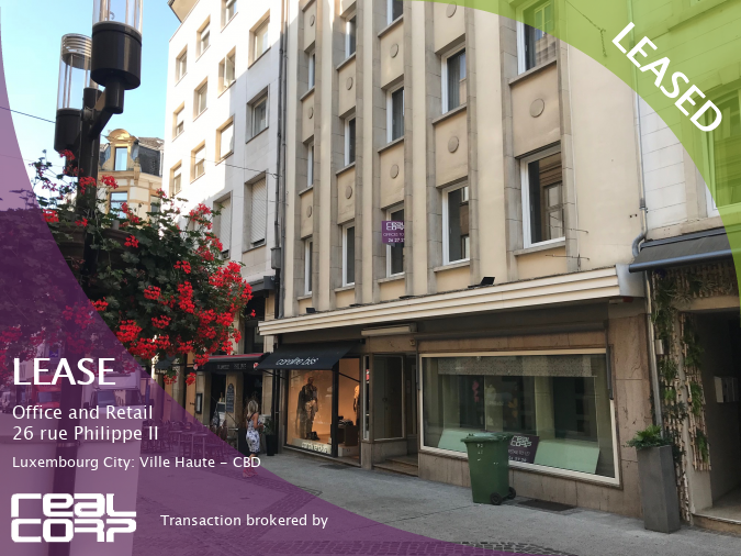 RealCorp Luxembourg — LEASED: Lease Office and Retail — NREP aims to challenge the status quo from 26 rue Philippe II, Luxembourg City: Ville Haute
