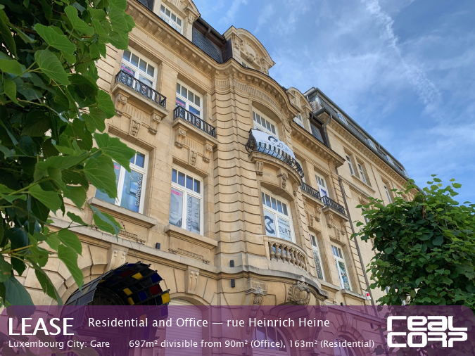 RealCorp Luxembourg — Lease Residential and Office — rue Heinrich Heine, Luxembourg City: Gare697m² divisible from 90m² (Office), 163m² (Residential)