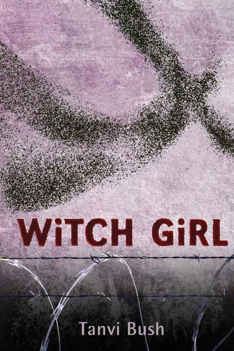 The cover of the book 'Witch Girl' by Tanvir Bush shows her pseudonym Tanvi Bush. The colours are violet and grey, with a black humanoid figure in pointillist dots apparently flying over a barbed wire fence against a patchy violet sky.